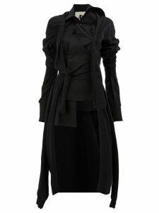 Aganovich asymmetric button coat - Black