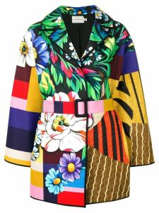 Mary Katrantzou patchwork belted coat - Yellow