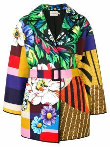 Mary Katrantzou patchwork belted coat - Yellow
