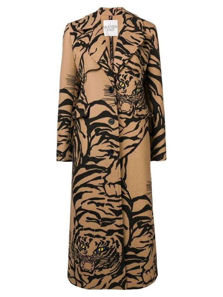 Valentino tiger-print coat - Neutrals