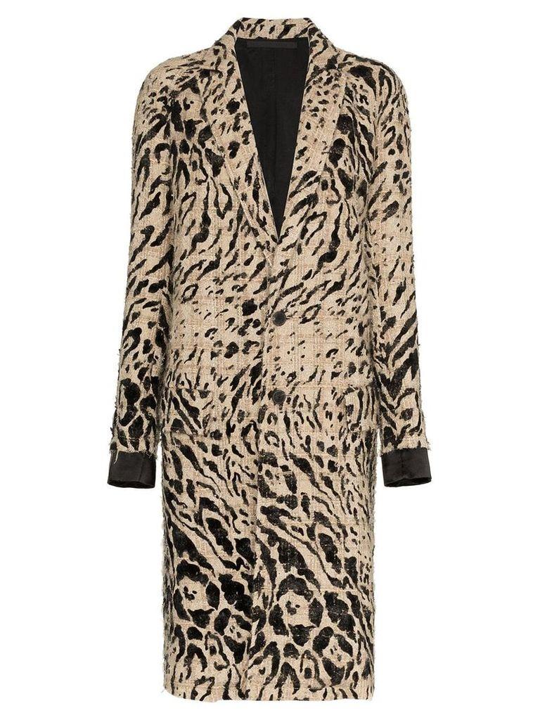 Haider Ackermann animal print wool coat - Black