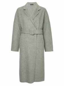 Loveless belted single-breasted coat - Grey