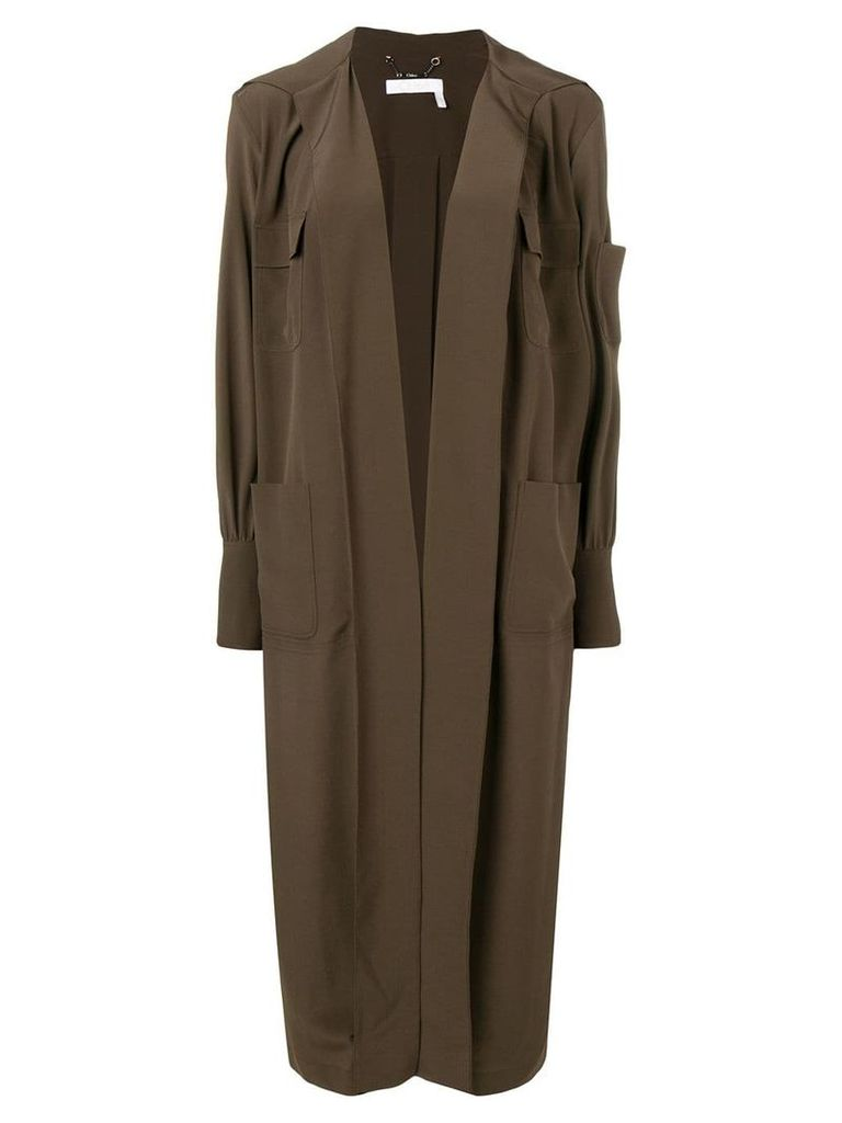 Chloé open front long coat - Green