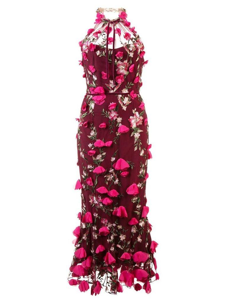 Marchesa Notte embellished floral lace dress - Red
