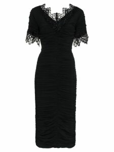 Dolce & Gabbana lace trimmed ruched silk blend Georgette dress - Black