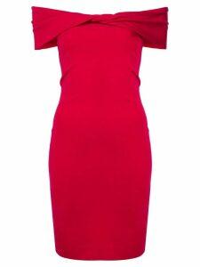Nicole Miller twisted off-shoulder dress - Red