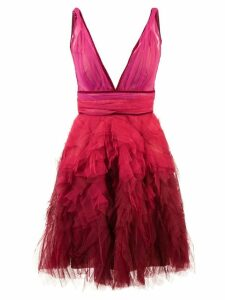 Marchesa Notte ruffle tulle dress - Red