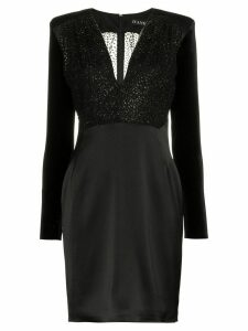 Haney Stam V-neck velvet sleeve mini dress - Black