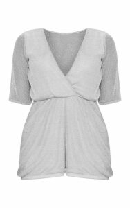 Petite Silver Knitted Wrap Front Playsuit, Grey