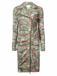 Nicole Miller zipped checked dress - Green