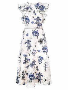 Lela Rose floral print ruffle dress - White