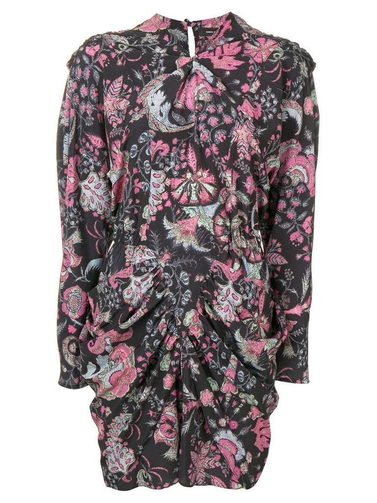 Isabel Marant floral gathered mini dress - Black