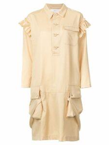 Julien David ruffle detail dress - Yellow