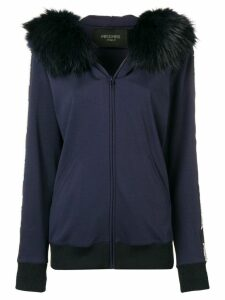Mr & Mrs Italy fur-trimmed hoodie - Blue