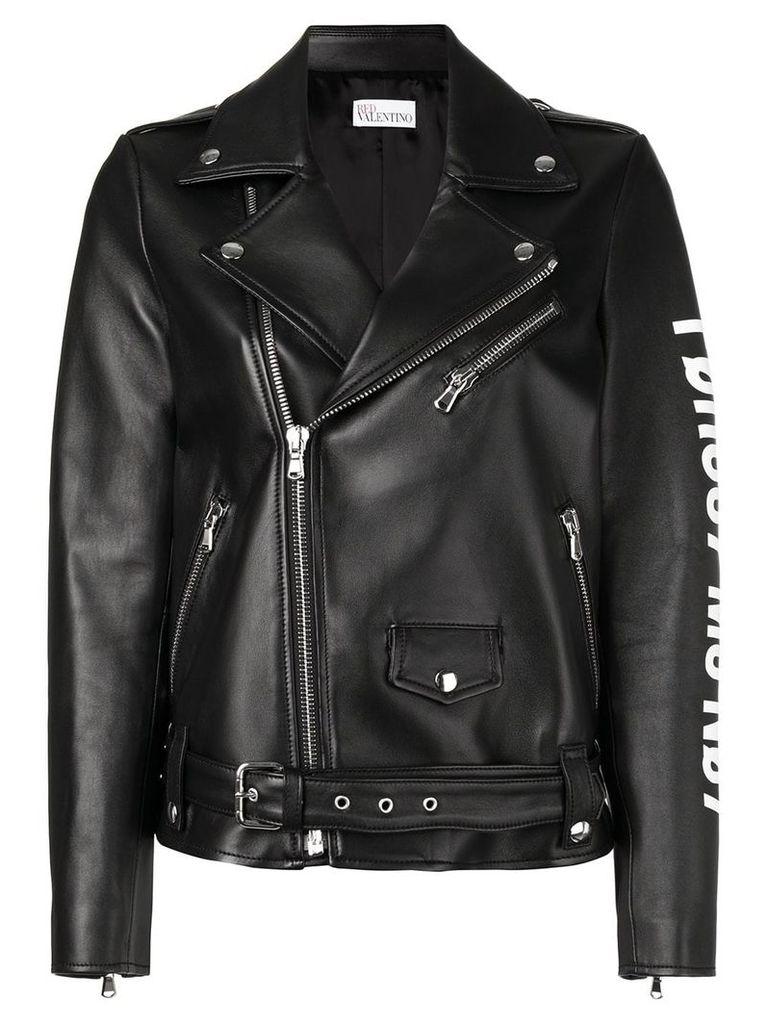 Red Valentino logo biker jacket - Black