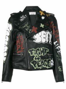 Faith Connexion graffiti print biker jacket - Black