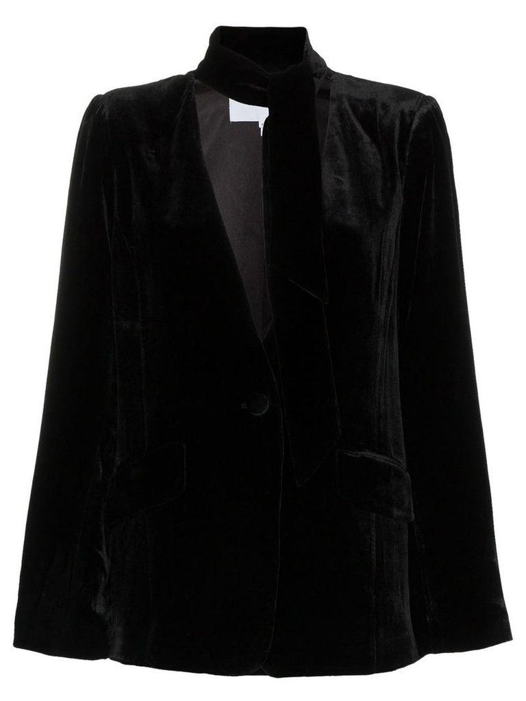 FRAME tie neck collarless silk blend velvet blazer - Black