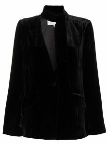 FRAME tie neck collarless silk blend velvet blazer - Black