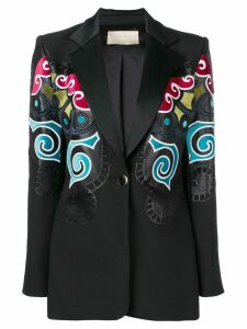 Elie Saab multicoloured print blazer - Black