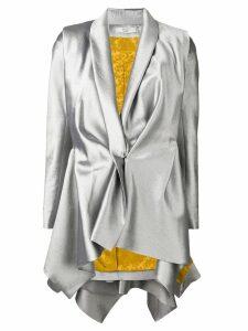 Poiret metallic draped blazer - Silver