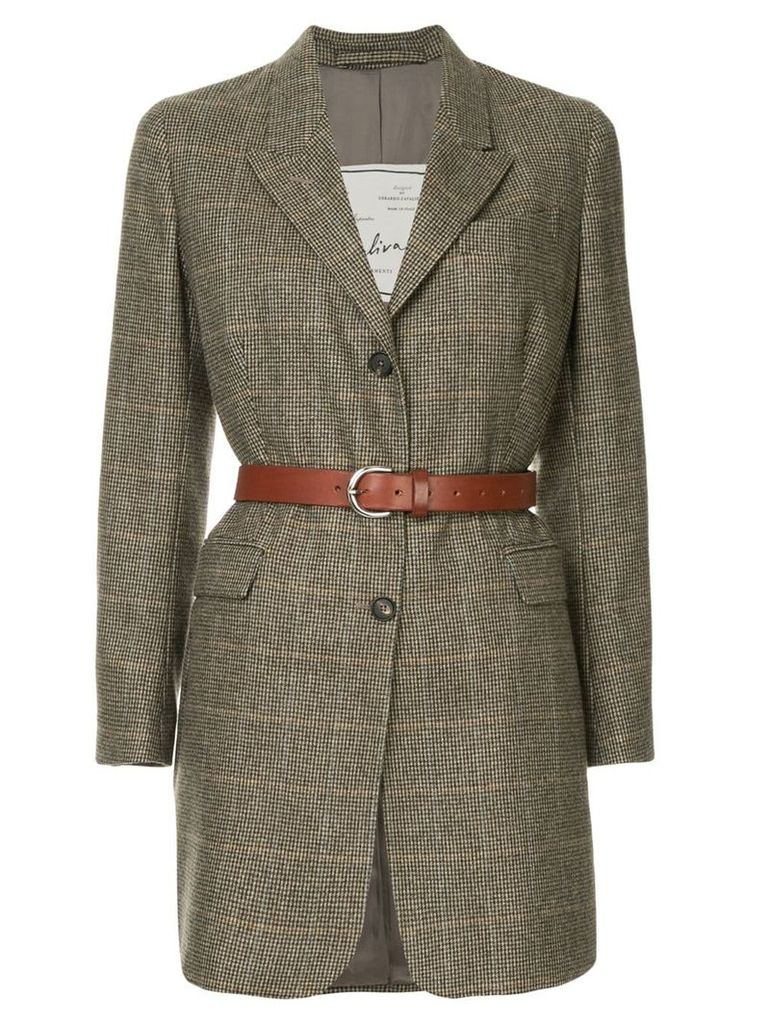 Giuliva Heritage Collection checked belted blazer - Brown