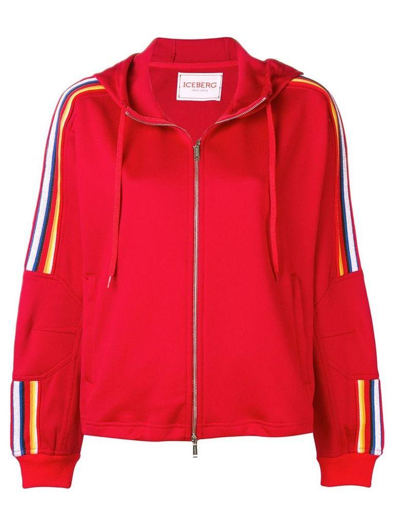 Iceberg logo hooded jacket - Red