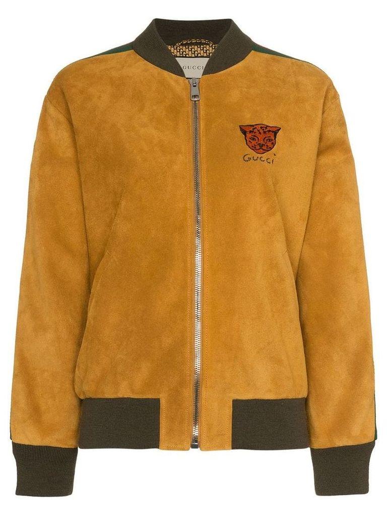 Gucci Logo stripe suede bomber jacket - Yellow