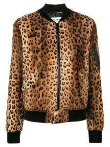 Saint Laurent leopard print bomber jacket - Brown