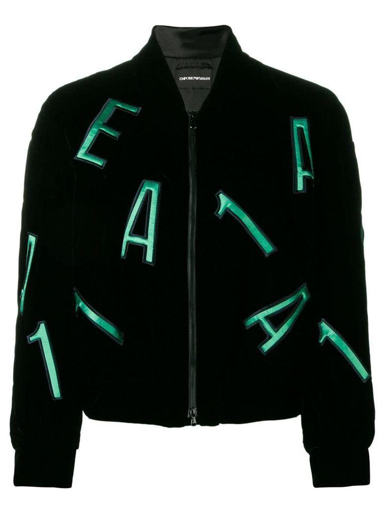 Emporio Armani letters embellished bomber jacket - Black