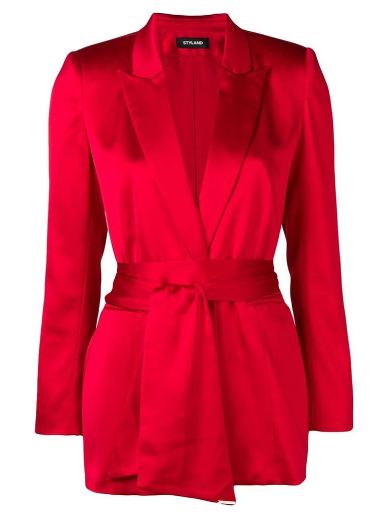 Styland tie belt blazer - Red