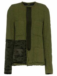 Haider Ackermann Collarless Jacket with Patch Details - Green