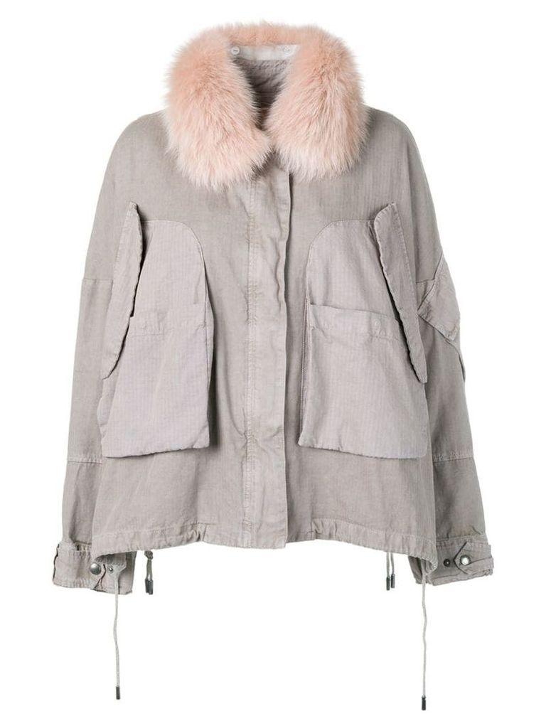 Yves Salomon Army fur trim cropped parka - Grey