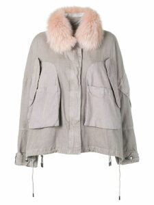 Yves Salomon Army fur trim cropped parka - Grey