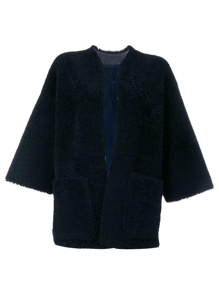 Maison Margiela shearling open front jacket - Blue