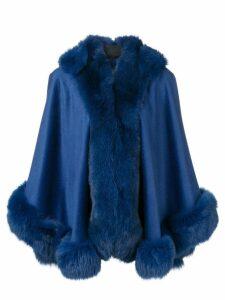 Liska fox fur trim cape - Blau