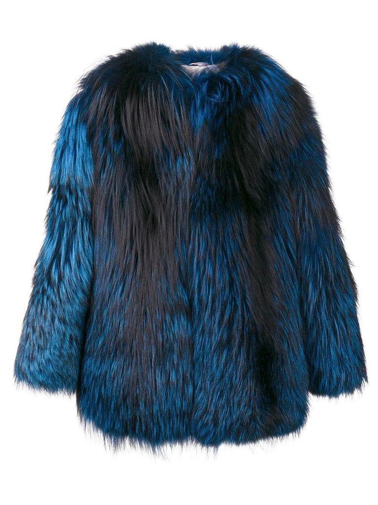 Numerootto contrast oversized jacket - Blue