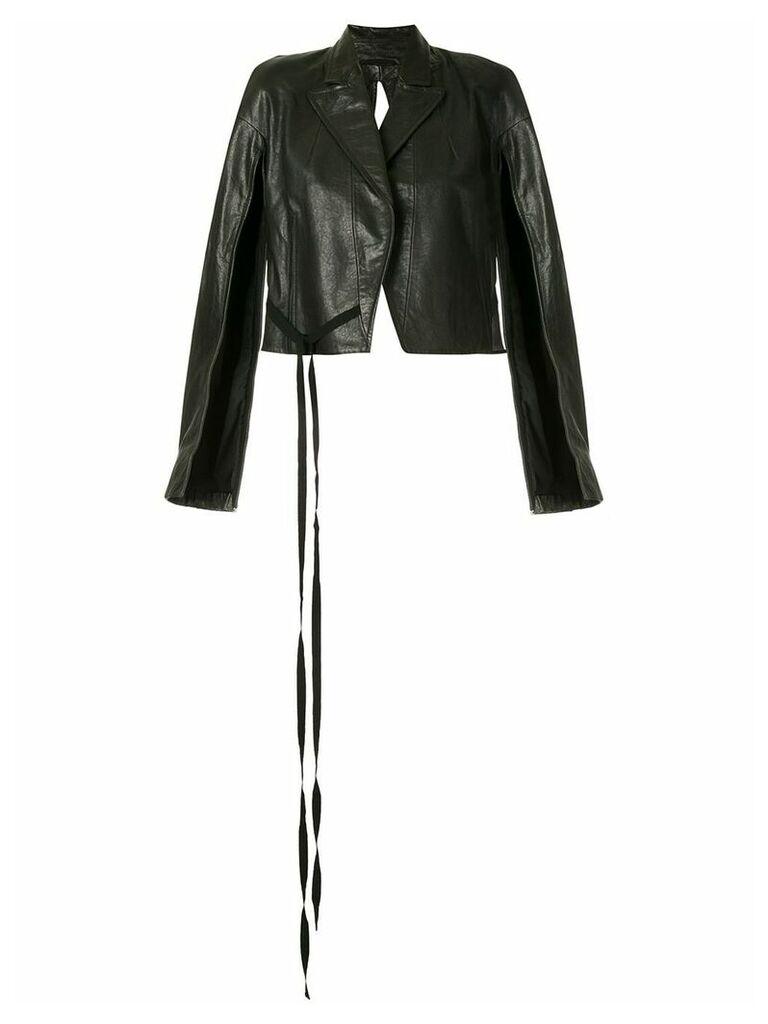Ann Demeulemeester cropped biker jacket - 99