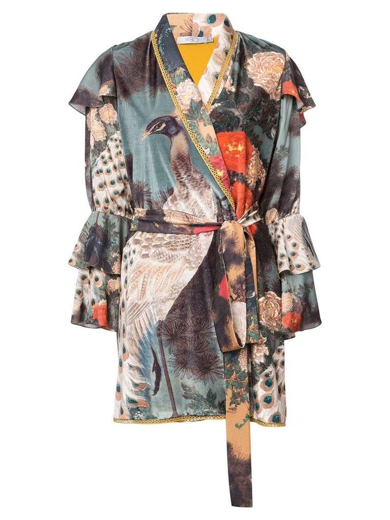 Patbo peacock print robe jacket - Blue