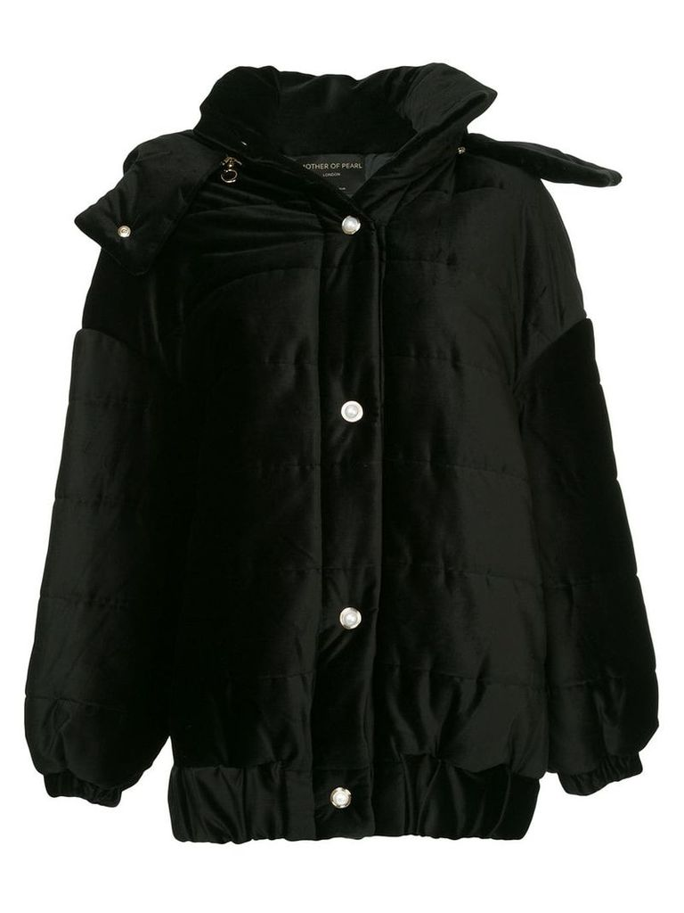 Mother Of Pearl Porter detachable hood velvet jacket - Black