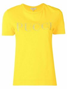 Emilio Pucci Crystal Embellished Logo T-shirt - Yellow