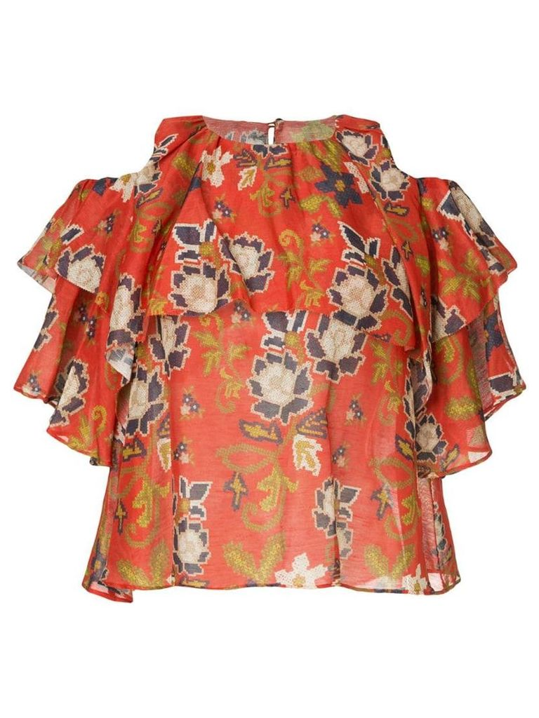 Muller Of Yoshiokubo cross ribbon blouse - Orange