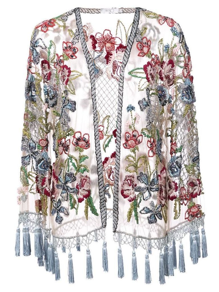 Patbo floral embroidered jacket - Neutrals