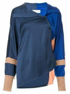 Peter Pilotto asymmetric colour block shirt - Blue