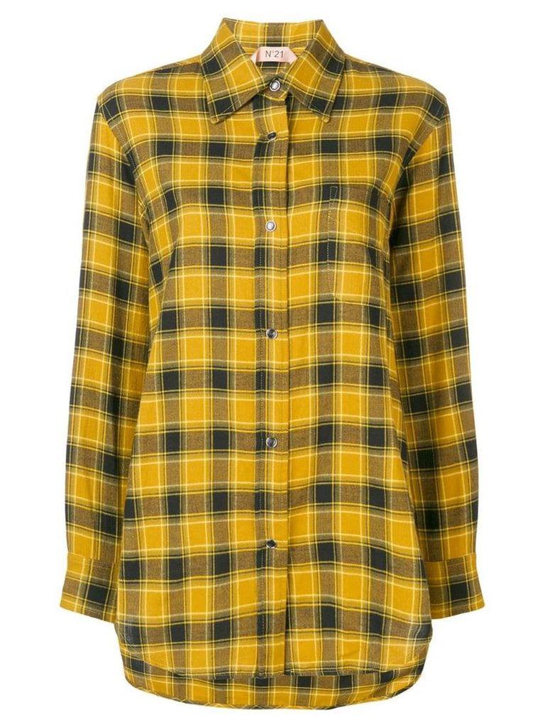 Nº21 fringed plaid flannel shirt - Yellow