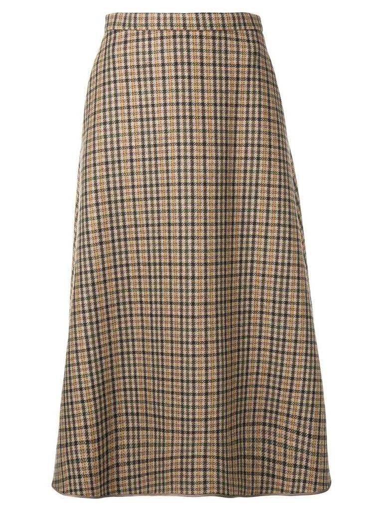 Rochas tartan A-line skirt - Neutrals