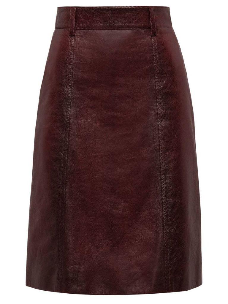 Prada matte nappa skirt - Red