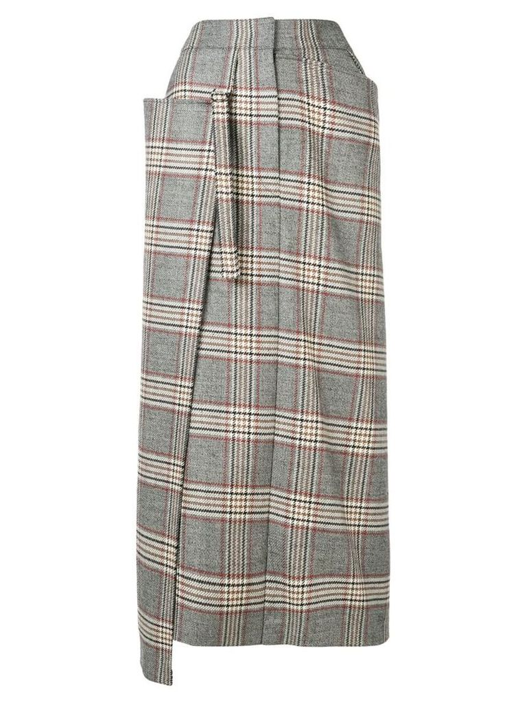 Joseph asymmetric check skirt - Grey