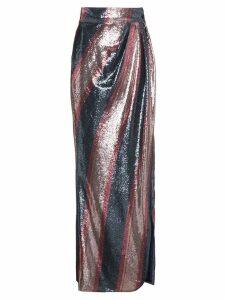 Johanna Ortiz Striped Sequin Maxi Skirt - Blue