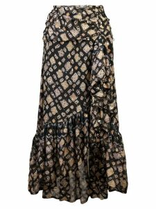 Ulla Johnson printed asymmetric midi skirt - Blue