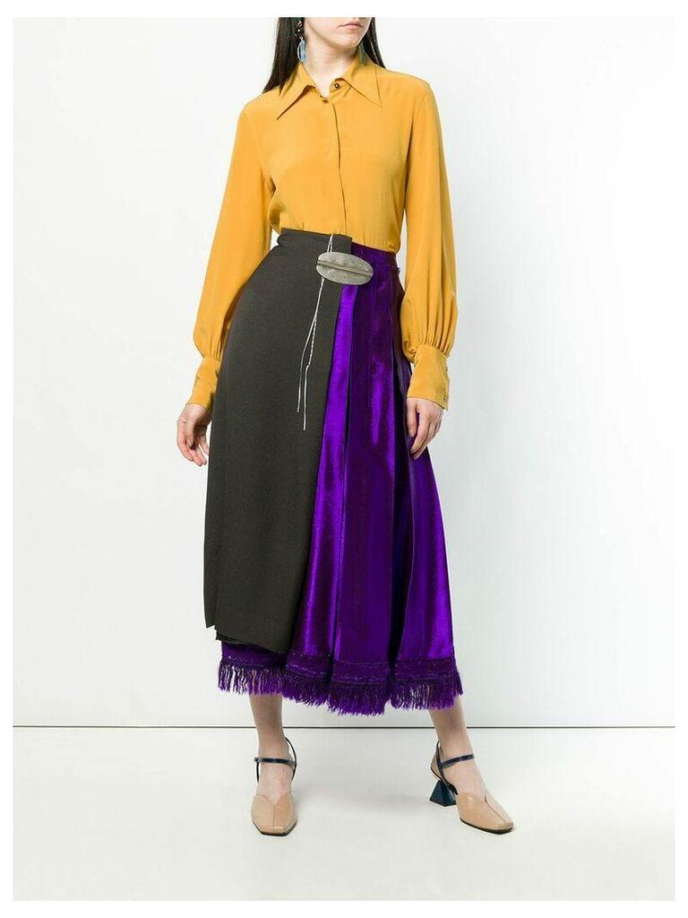 Marni asymmetric wrap front skirt - Brown